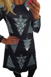 Womens Christmas Tree Printed Long Sleeve Midi Dress Black