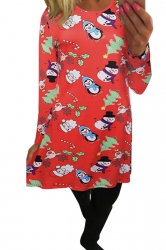 Womens Christmas Penguin Printed Midi Long Sleeve Dress Dark Red