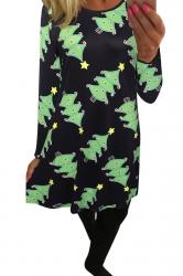 Womens Christmas Tree Printed Midi Long Sleeve Dress Green
