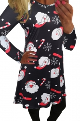 Womens Christmas Santa and Snowflake Printed Midi Dress Black