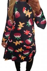Womens Christmas Gingerbread Man Printed Midi Dress Black