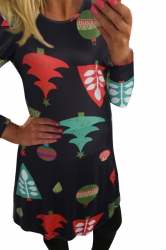 Womens Christmas Tree Printed Crewneck Long Sleeve Dress Black