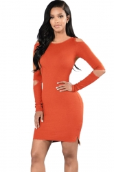 Womens Cold Shoulder Cut-out Sleeve Plain Bodycon Dress Orange