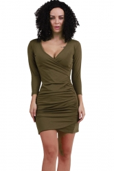 Womens V Neck Long Sleeve Draped Clubwear Dress Army Green