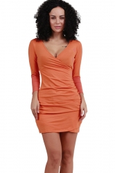 Womens V Neck Long Sleeve Draped Clubwear Dress Orange