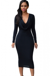 Womens V Neck Plain Draped Long Sleeve Midi Dress Black