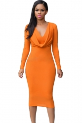 Womens V Neck Plain Draped Long Sleeve Midi Dress Orange