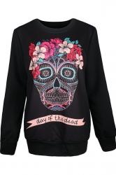 Womens Crewneck Pullover Floral Skull Print Halloween Sweatshirt Black