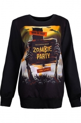 Womens Crewneck Pullover Zombie Party Print Halloween Sweatshirt Gold