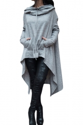 Womens Long Sleeve Asymmetric Hem Drawstring Hoodie Gray