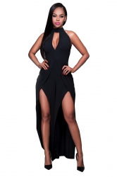 Womens Halter Backless Front Slit Sleeveless Plain Jumpsuit Black