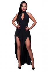 Womens Halter Backless Front Slit Sleeveless Plain Jumpsuit Black