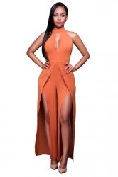 Womens Halter Backless Front Slit Sleeveless Plain Jumpsuit Orange