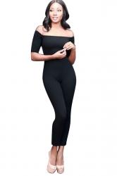 Womens Off Shoulder Plain Short Sleeve Bodycon Jumpsuit Black