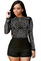 Womens Sheer Rhinestone Long Sleeve Romper Black
