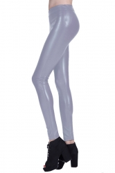 Womens Plain Elastic Waist Ankle Length PU Leather Leggings Light Gray