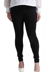 Womens Plus Size Elastic High Waist Two-buttons Leggings Black