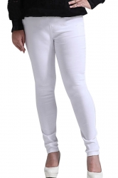 Womens Plus Size Elastic High Waist Two-buttons Leggings White