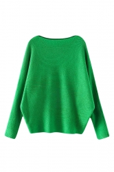 Womens Plain Long Sleeve Cocoon Loose Pullover Sweater Green