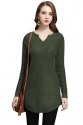 Womens V Neck Pocket Decor Long Sleeve Pullover Sweater Dark Green