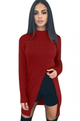 Womens Plain Long Sleeve Side Slit Pullover Sweater Ruby