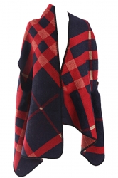 Womens Color Block Geometric Patterned Thick Poncho Navy Blue