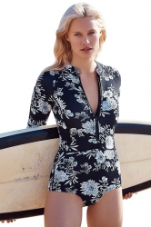 Womens Zip-up Floral Printed Long Sleeve One Piece Swimsuit Black