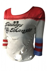 Womens Striped Letter Printed Harley Quinn Ripped T Shirt Red