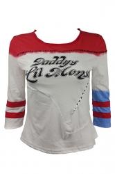 Womens Striped Letter Printed Harley Quinn T Shirt White