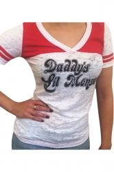 Womens Color Block Striped Letter Printed Harley Quinn T Shirt Black