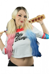 Womens Color Block Striped Letter Printed Harley Quinn T Shirt Blue