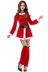 Womens Cold Shoulder Hooded Long Sleeve Christmas Santa Costume Red