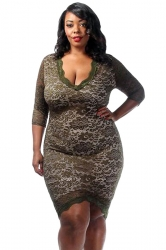 Womens Plus Size Laced High Low 3/4 Length Sleeve Dress Green