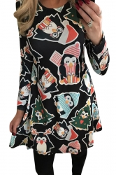Womens Cute Penguin Christmas Tree Printed Long Sleeve Dress Black