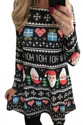 Womens Christmas Santa and Gift Printed Long Sleeve Dress Black