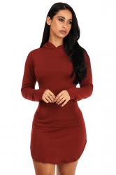 Womens Long Sleeve Hooded Side Slit Plain Mini Dress Ruby