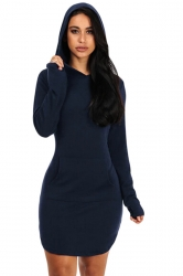 Womens Long Sleeve Hooded Side Slit Plain Mini Dress Navy Blue