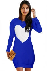 Womens Crewneck Heart Printed Long Sleeve Sweatshirt Dress Blue