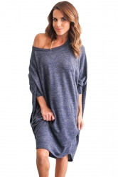 Womens Loose Batwing Sleeve Plain Smock Dress Blue