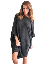 Womens Loose Batwing Sleeve Plain Smock Dress Black