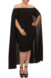Womens Off Shoulder Plain Cape Midi Plus Size Dress Black