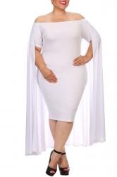 Womens Off Shoulder Plain Cape Midi Plus Size Dress White