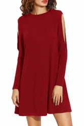 Womens Loose Open Long Sleeve Plain Smock Dress Red