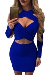 Womens Cut Out Bandage Long Sleeve Plain Clubwear Dress Sapphire Blue