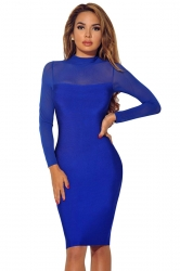 Womens Sheer Long Sleeve Plain Midi Bodycon Dress Blue