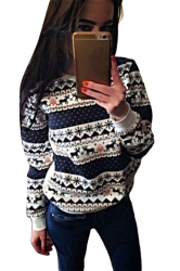 Womens Crewneck Reindeer Print Long Sleeve Christmas Sweatshirt White