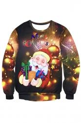 Womens Crewneck Santa Claus Printed Pullover Christmas Sweatshirt Gold