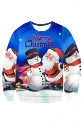 Womens Crewneck Santa Snowman Print Pullover Christmas Sweatshirt Blue