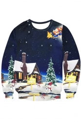Womens Crewneck Christmas Night Printed Pullover Sweatshirt Navy Blue