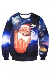 Womens Crewneck Funny Santa Claus Print Christmas Sweatshirt Navy Blue